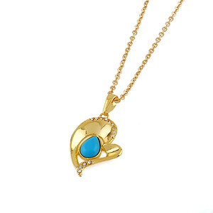 Gold plated gemstone Pendant Necklace in Turquoise color