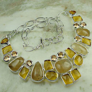 925 Silver Fashion Lime Yellow multi quartz necklace Jewelry