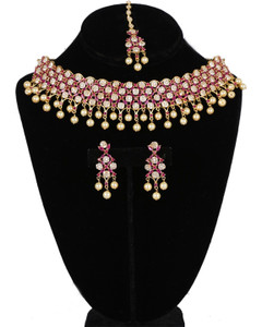 American Diamond necklace set synthetic Ruby,Clear stones and faux pearls with matching Tikka bridal jewelry