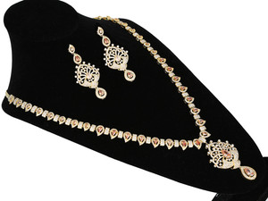 CZ American Diamonds Gold Plated Pear Topaz stones Bridal Indian Jewelry