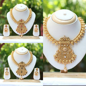 South Indian Traditional Antique Gold plated studded kundan stones Jewellery