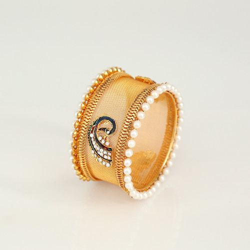 Peacock Pearls Kada Bangle Bracelet Party Wear Online Jewellery