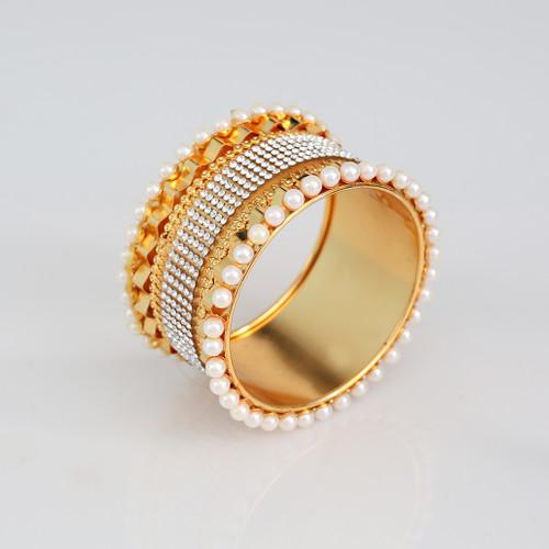 Cubic Zirconia Stone Studded Pearls Kada Bangle Bracelet Party Wear Jewelry