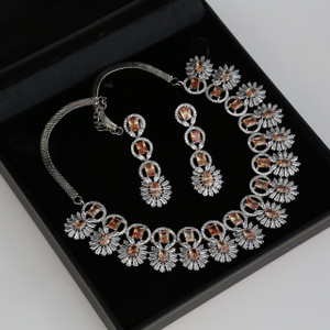 Silver Plated AD stone necklace jewelry set with Topaz stones