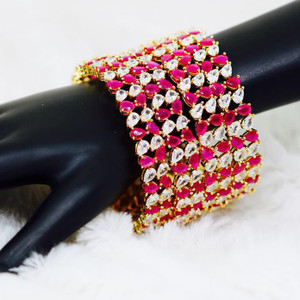 Indian Ethnic 22K Gold Pear Cut White and Pink Zircon Bangles