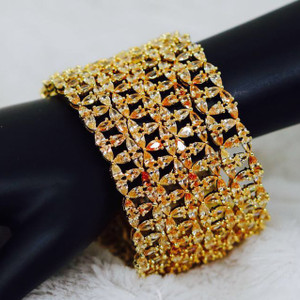 22K Gold Yellow Topaz Color and Cubic Zirconia Bangles