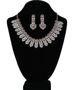 High Quality Topaz and Clear Crystal Rhinestone Necklace