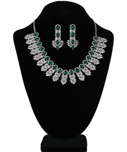 Emerald Green and Clear Crystal Rhinestone Designer Necklace for Girls