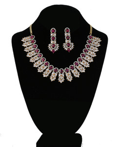 Pink Ruby and Clear Crystal CZ Kundan Necklace