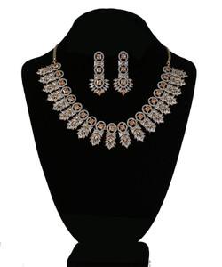 Yellow Topaz and Clear Crystal Rhinestone Imitation Party Wear Jewellery