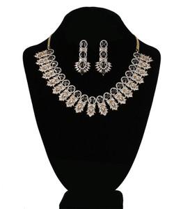 Black and Clear Crystal CZ Zircons Kundan Necklace