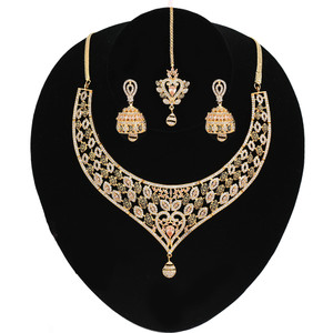 Topaz and Clear Crystal CZ Heavy Gold plated Light Weight Necklace Jhumka Earrings