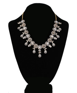 White and CZ American Diamonds Gold Plated necklace