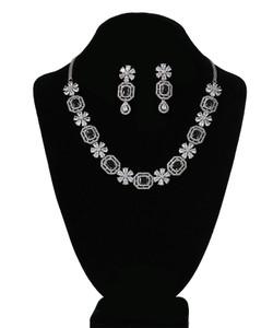 Black Emerald Cut Octagon Crystal Rhodium plated necklace