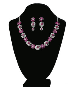 Sparkly Pink Ruby Emerald Cut Octagon Crystal Rhodium plated jewelry