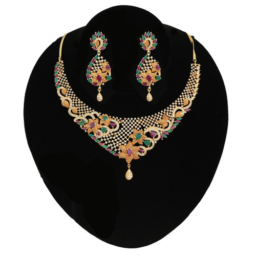 Multicolor Stones Wedding Choker Necklace