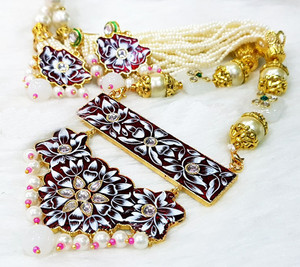 Kundan Meenakari Gold Plated Pearl Garnet Brass Necklace