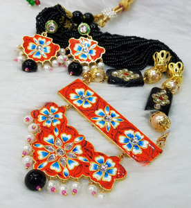 Meenakari Gold Plated Kundan Pearl Orange Brass Necklace