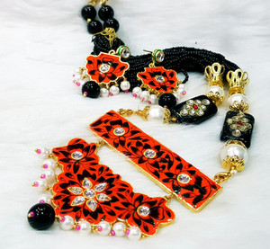 Meenakari Gold Plated Kundan Indian Pearl Red Black Jodi