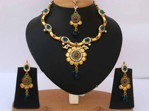 Royal costume fashion gold plated Emerald and Clear Polki set-03PLK206