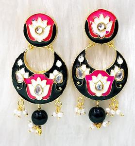 Black Meenakari Chandbali Earrings