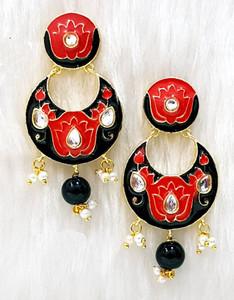Jaipur Matt Red Floral Hand Painted earrings