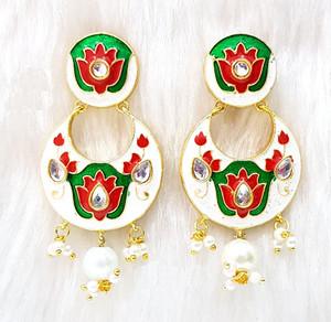 Jaipur Matt Red Floral Hand Painted chandbali earrings