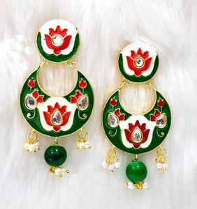 Jaipur Matt Red Floral Hand Painted chandelier earrings