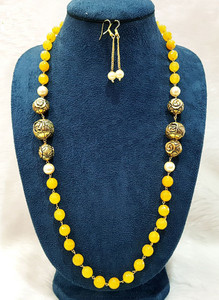 Antique Gold Balls and Yellow Beaded Single Strand Necklace