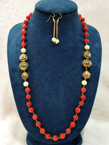 Coral Beaded and Antique Gold Balls Single Strand Necklace