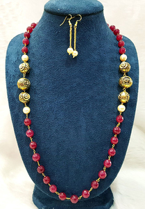 Ruby Beaded and Antique Gold Balls Single Strand Necklace