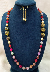 Antique Gold Balls and Multicolor Beaded Single Strand Necklace