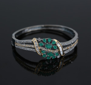 Gold Silver Dual Tone Antique Look Green CZ Fashion Jewelry