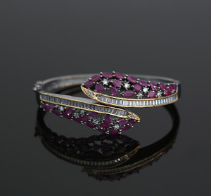 Women's Beautiful Design Marquise Ruby CZ Black Tone Kada