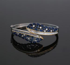 Women's Beautiful Design Marquise Blue CZ Black Tone Kada