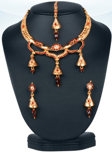 Gold plated red Polki set-03PLK118