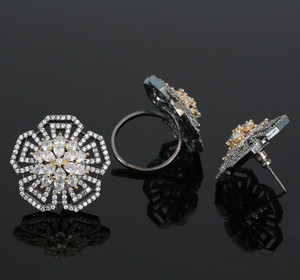 Clear CZ Simulated Diamond Stud earrings and Adjustable Finger Ring