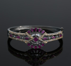 American Diamond Pink Ruby Bracelet Kada Jewelry
