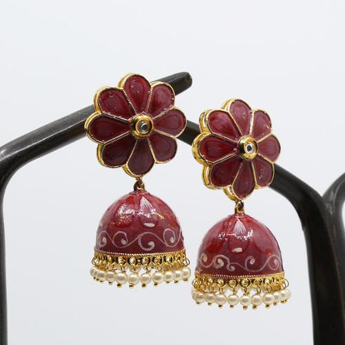 Reddish Brown Hand Painted Kundan Meenakari Jhumka Earrings