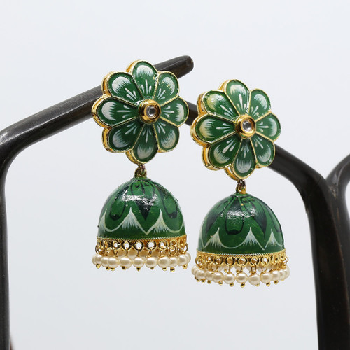 Traditional Bridal Green Hand Painted Meenakari Jhumka Earrings