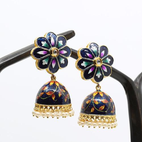 Bridal Blue Hand Painted Meenakari Jhumka Earrings