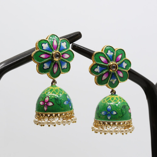 Green Hand Painted Kundan Meenakari Jhumka Earrings