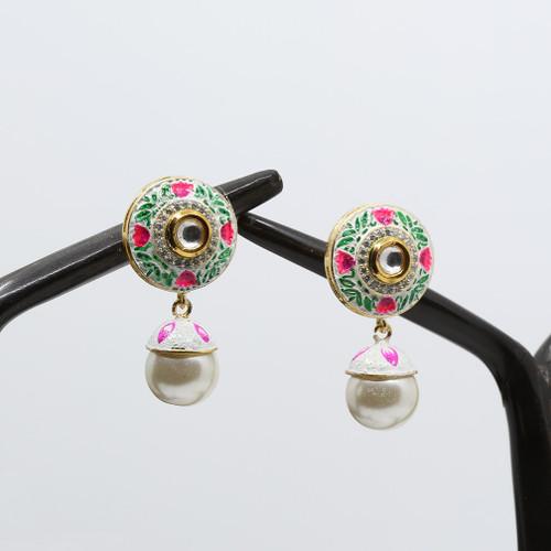 Floral Kundan Meenakari Earrings with Pearls