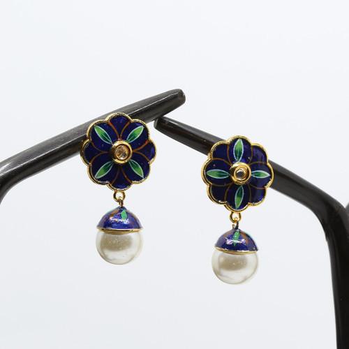 Blue Green Base Floral Meenakari Earrings