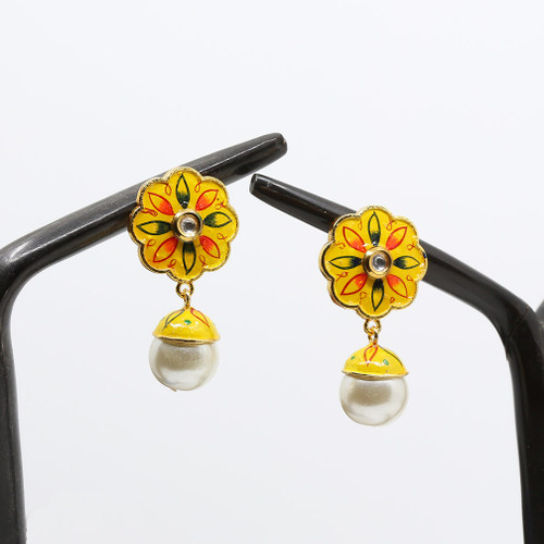 Kundan Stone and Pearl Drop on a Yellow Base Floral Meenakari Earrings
