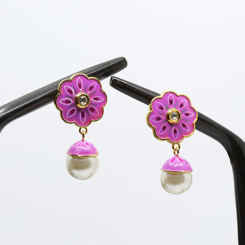 Stud Designed Meenakari Earrings