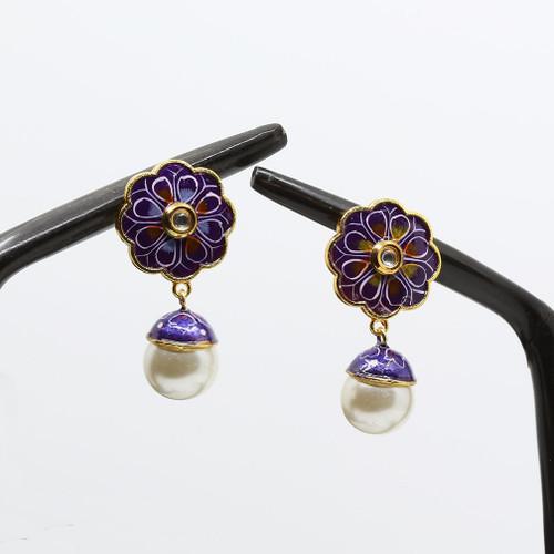 Purple Base Floral Meenakari Earrings