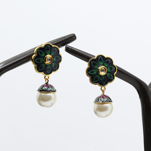Stud Designed Meenakari Earrings with Kundan Stone and Pearl Drop on a Green Base