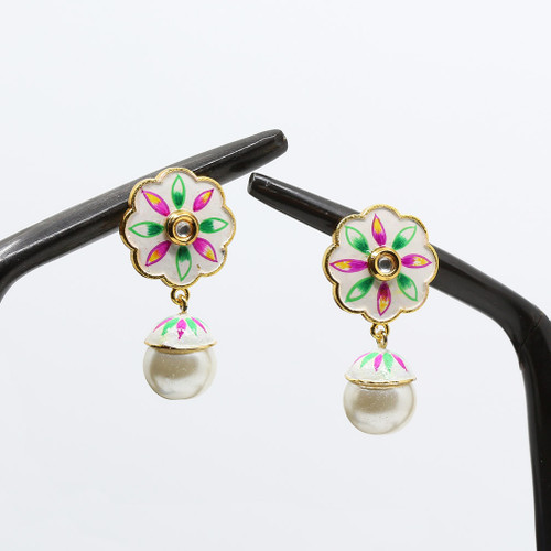 Kundan Stone and Pearl Drop on a White Base