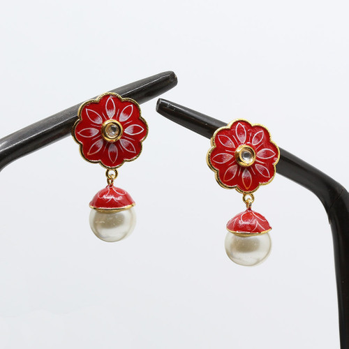 Gorgeous Kundan Stone and Pearl Drop earrings